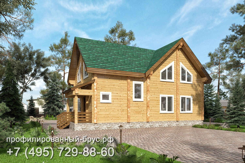 Проект дома из профилированного бруса размером 7x13,5 м.