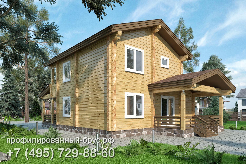 Проект дома из профилированного бруса размером 9x14 м.