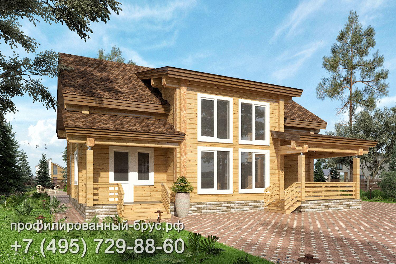 Проект дома из профилированного бруса размером 12,5x12 м.