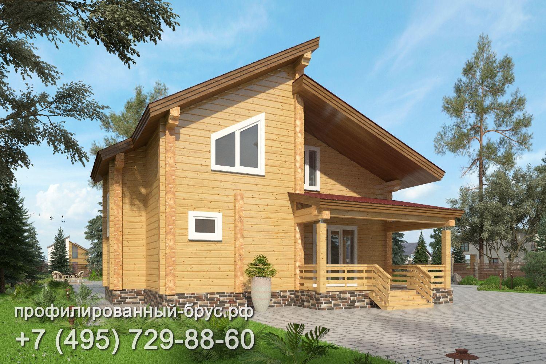 Проект дома из профилированного бруса размером 10,5x10 м.