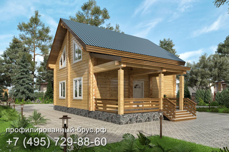 Проект дома из профилированного бруса размером 8x11 м.