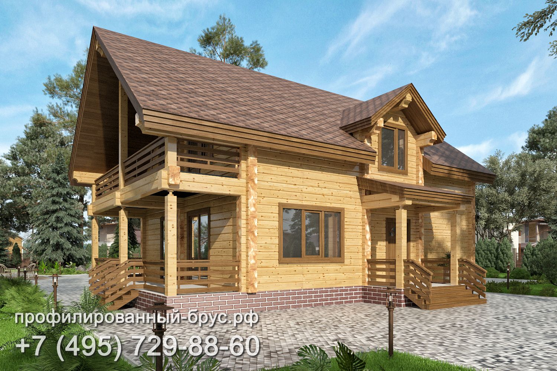 Проект дома из профилированного бруса размером 9,5x11,5 м.