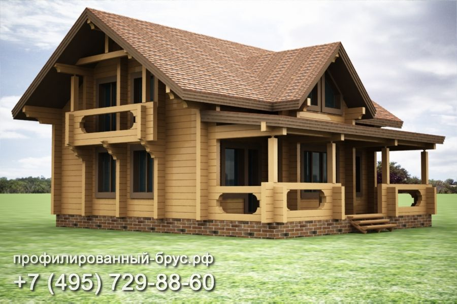 Проект дома из профилированного бруса размером 11x13 м.