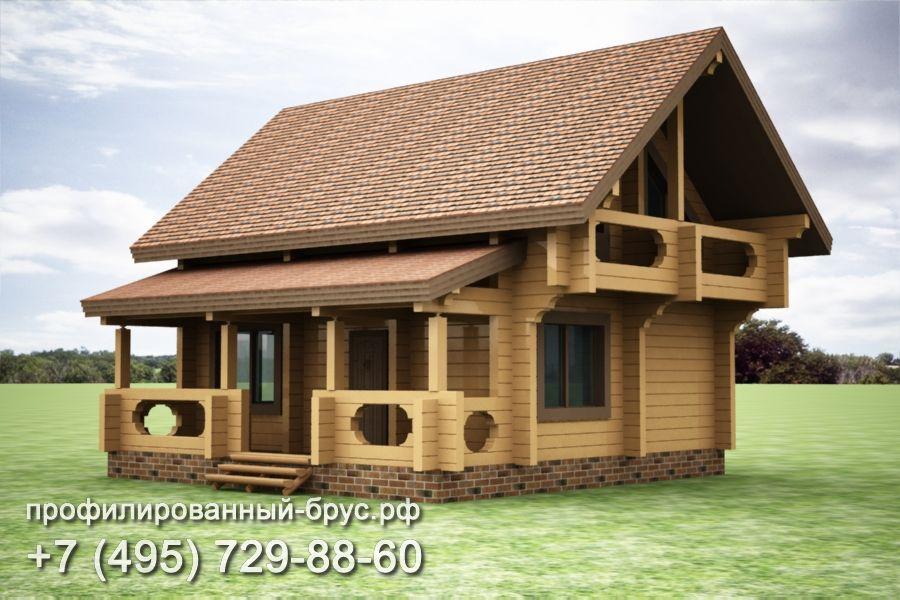 Проект дома из профилированного бруса размером 9x9 м.