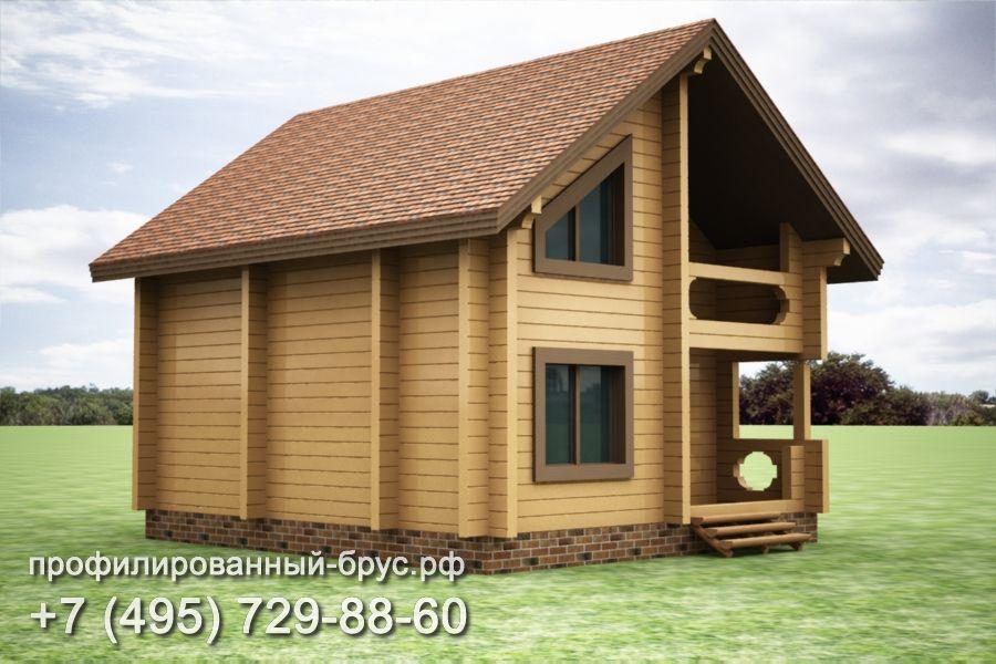 Проект дома из профилированного бруса размером 9x8 м.