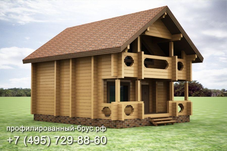 Проект дома из профилированного бруса размером 10x8 м.