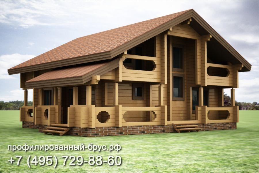 Проект дома из профилированного бруса размером 13x14 м.