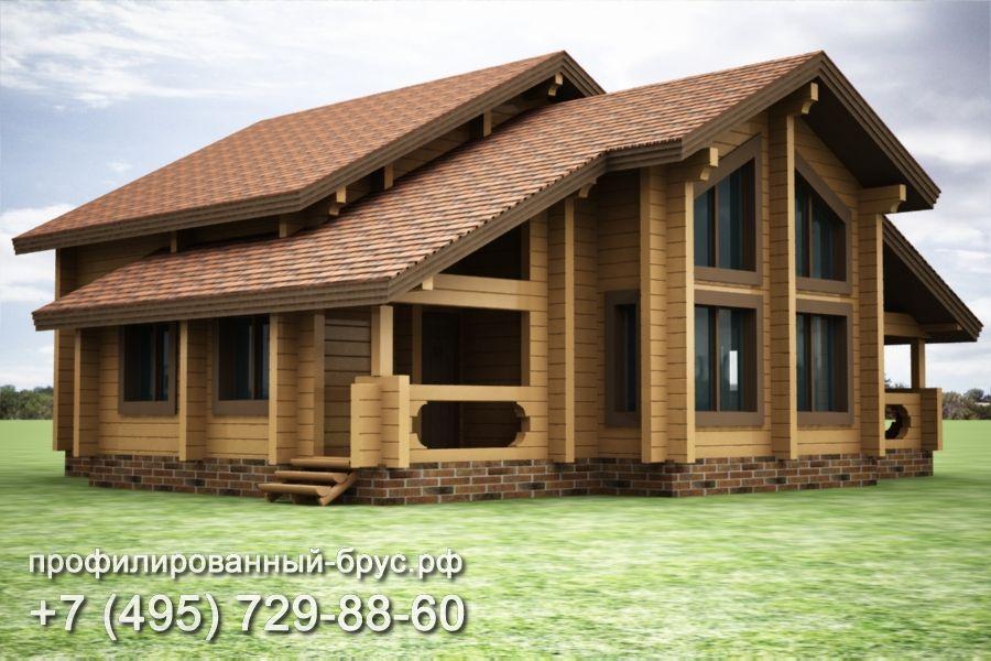Проект дома из профилированного бруса размером 14x15 м.