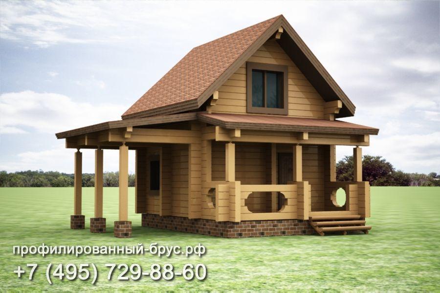 Проект дома из профилированного бруса размером 7x5,5 м.