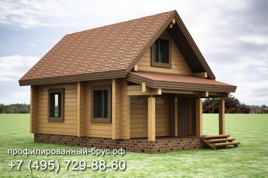 Проект дома из профилированного бруса размером 7,5x5,5 м.