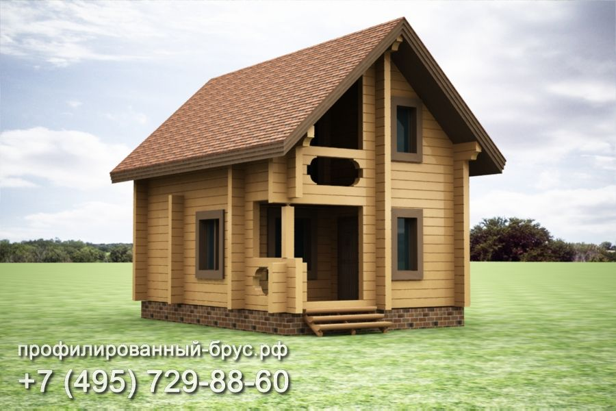 Проект дома из профилированного бруса размером 8x5,5 м.