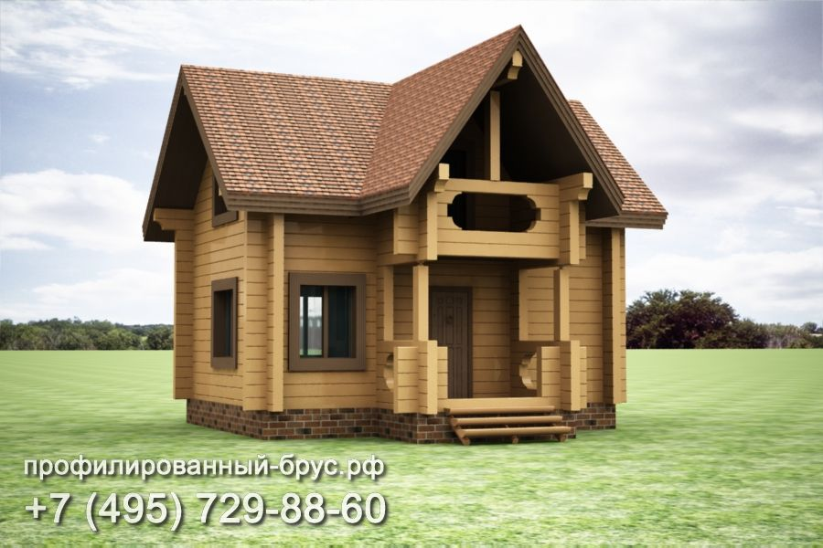 Проект дома из профилированного бруса размером 7,5x7,5 м.