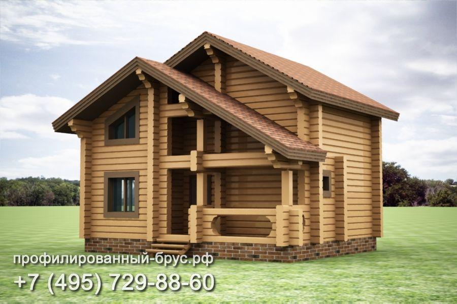 Проект дома из профилированного бруса размером 7x9 м.