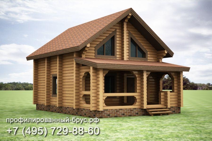 Проект дома из профилированного бруса размером 11x8 м.