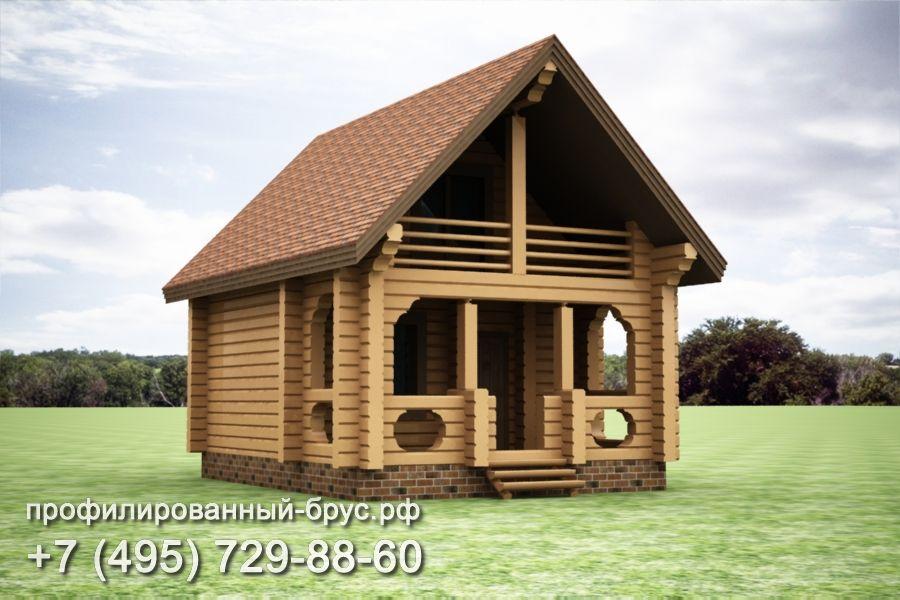 Проект дома из профилированного бруса размером 8x6 м.