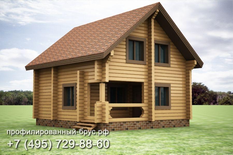 Проект дома из профилированного бруса размером 8,5x8 м.