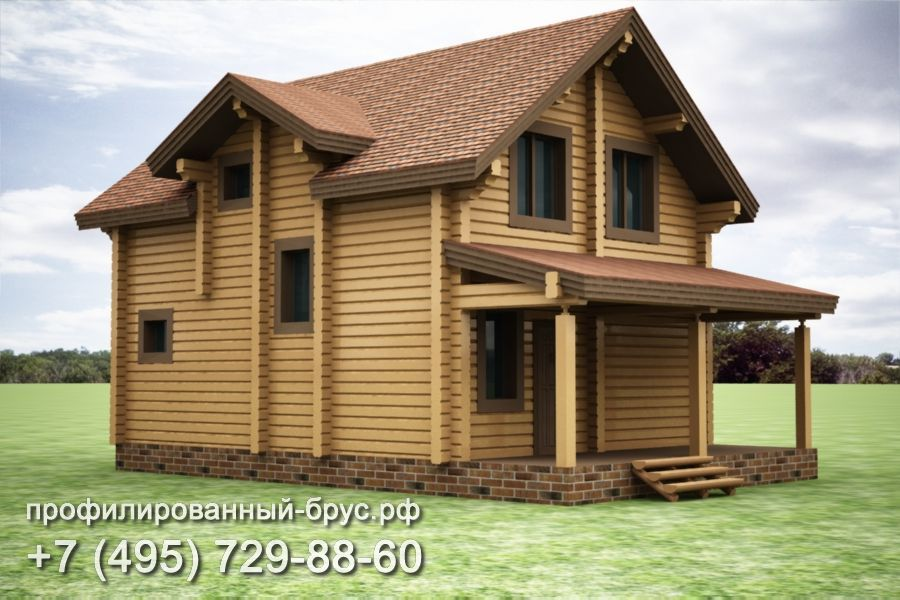 Проект дома из профилированного бруса размером 12,1x9,6 м.