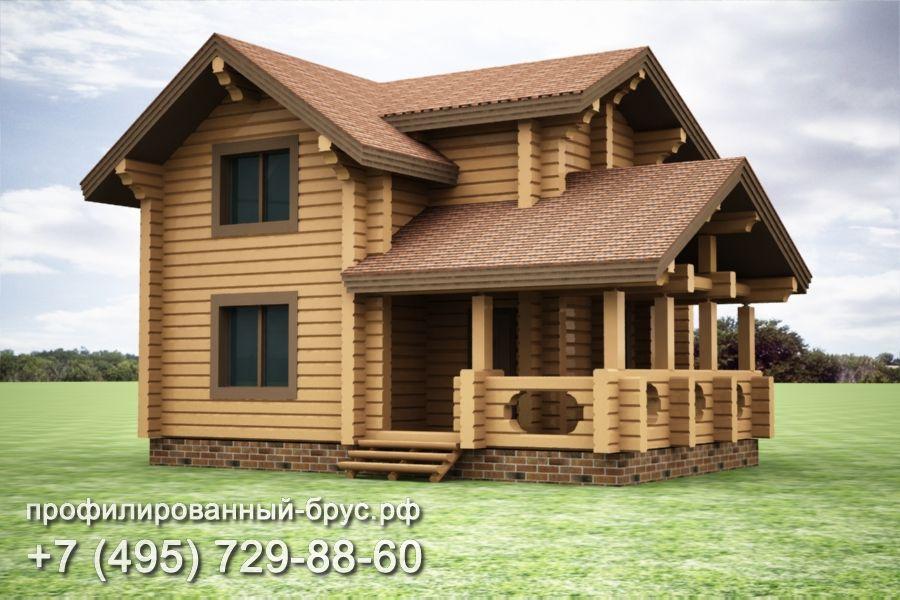 Проект дома из профилированного бруса размером 8x10 м.