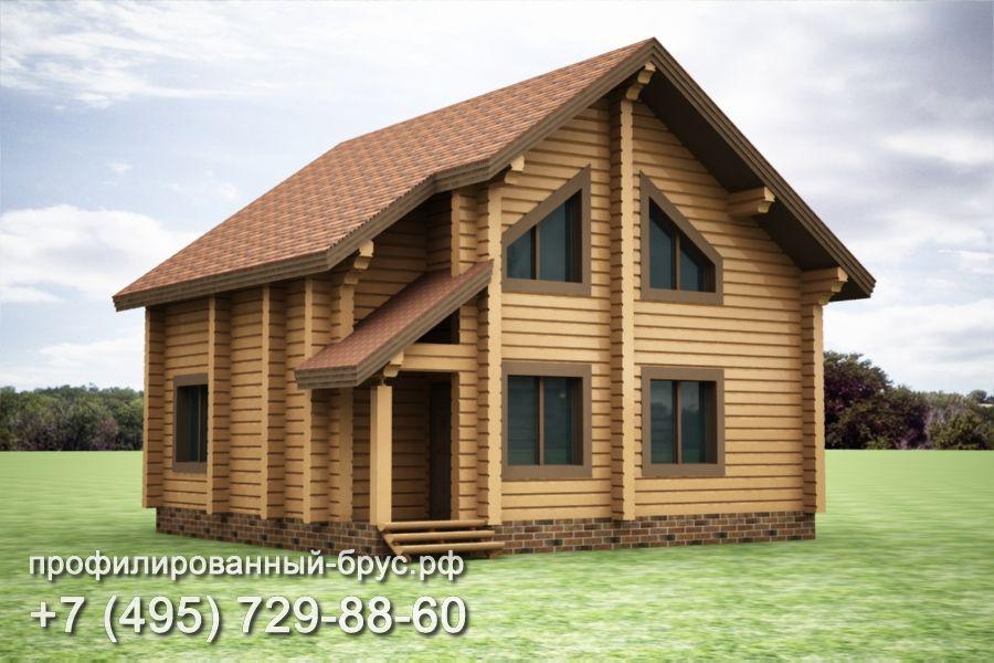 Проект дома из профилированного бруса размером 9,5x10 м.