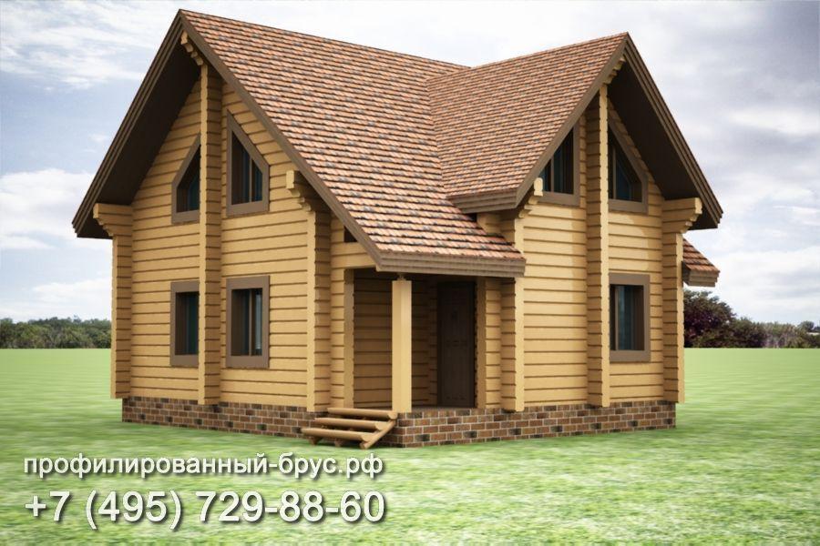 Проект дома из профилированного бруса размером 7,5x9,5 м.