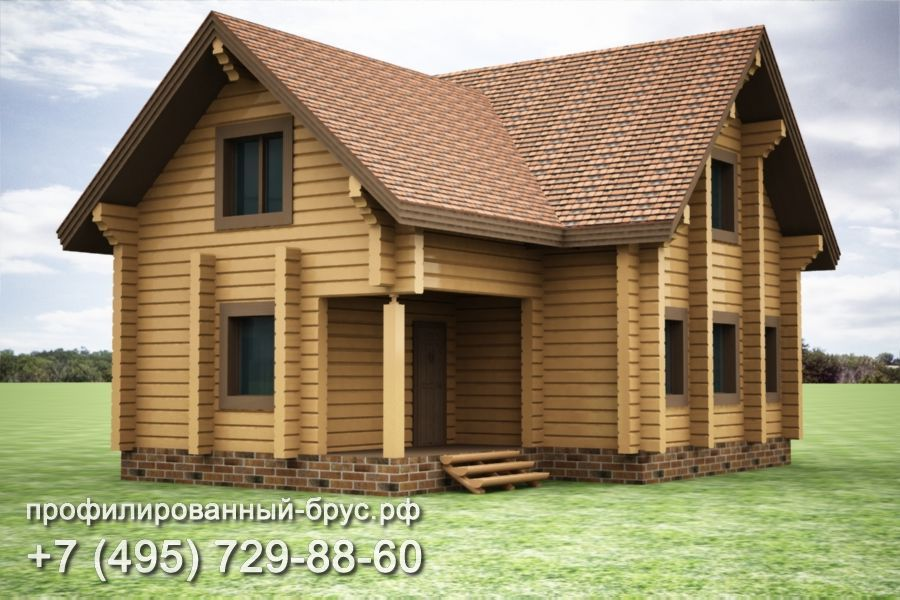 Проект дома из профилированного бруса размером 11x10 м.