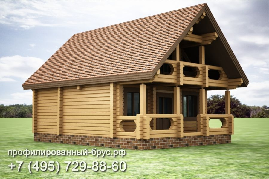 Проект дома из профилированного бруса размером 11,5x7,5 м.