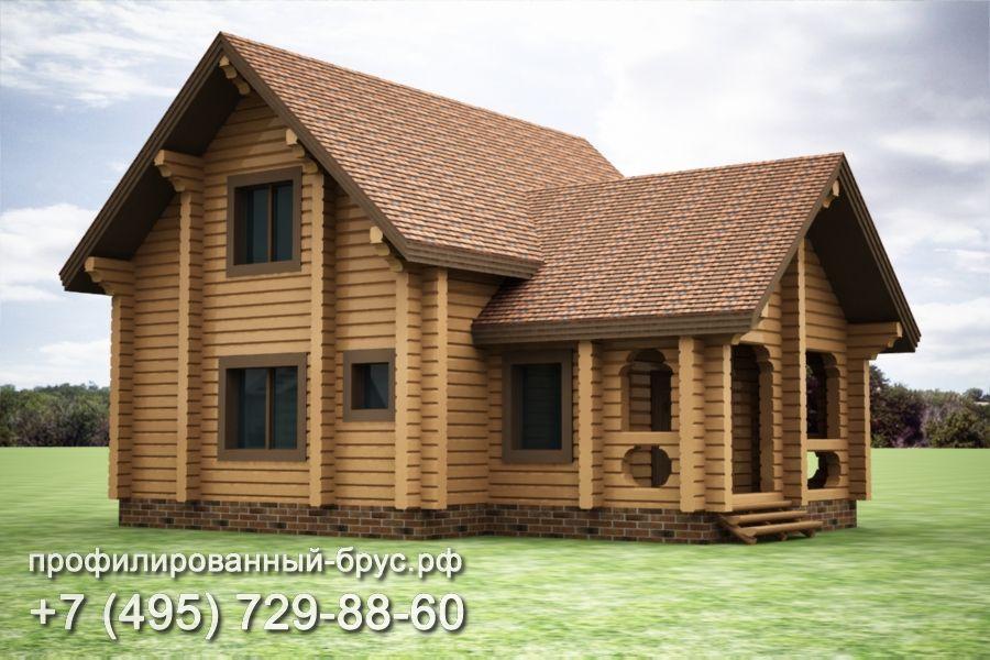 Проект дома из профилированного бруса размером 12x10 м.
